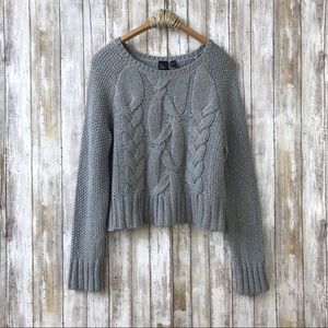 Eileen Fisher Boxy Cable Knit Wool Blend Sweater